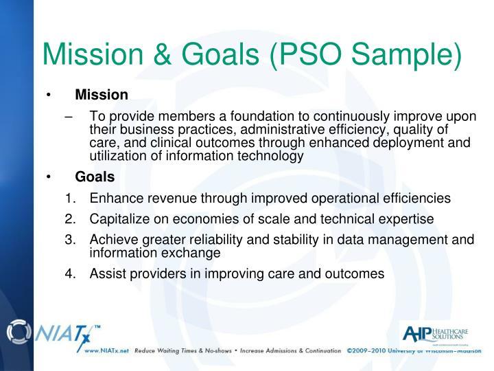 Mission & Goals (PSO Sample)