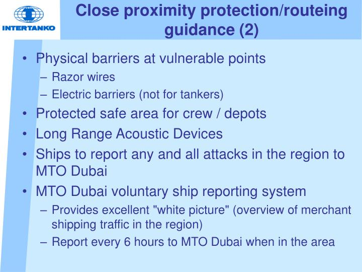 Close proximity protection/routeing guidance (2)