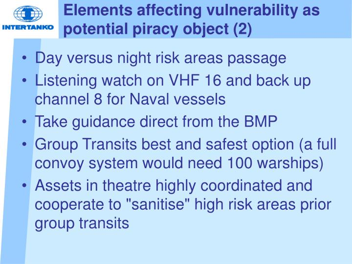 Elements affecting vulnerability as potential piracy object (2)