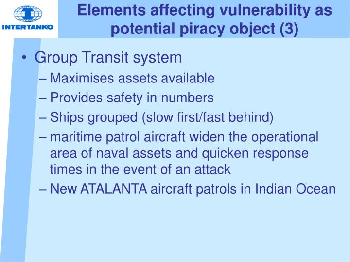 Elements affecting vulnerability as potential piracy object (3)