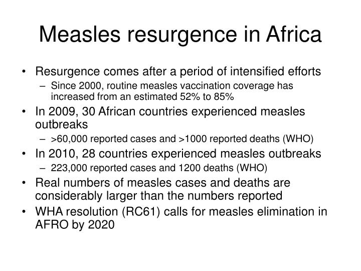Measles resurgence in africa