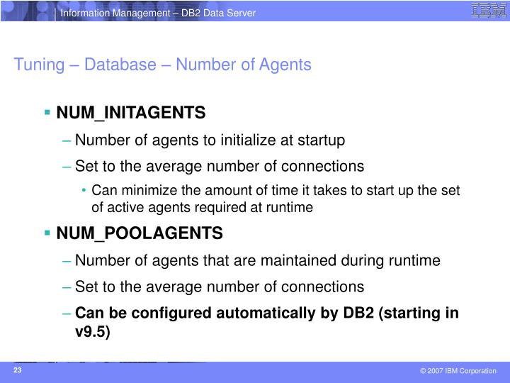 Tuning – Database – Number of Agents