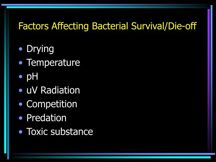 Factors Affecting Bacterial Survival/Die-off