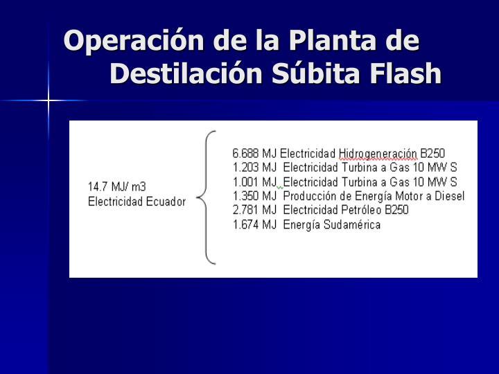 Operación de la Planta de Destilación Súbita Flash