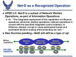 net d as a recognized operation