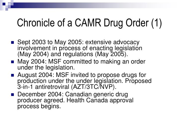 Chronicle of a CAMR Drug Order (1)