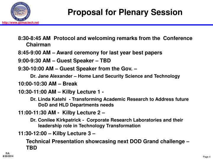 Proposal for Plenary Session