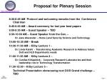 proposal for plenary session1