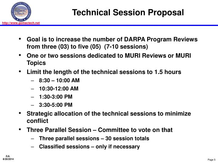 Technical Session Proposal