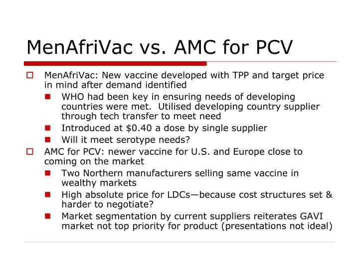 MenAfriVac vs. AMC for PCV