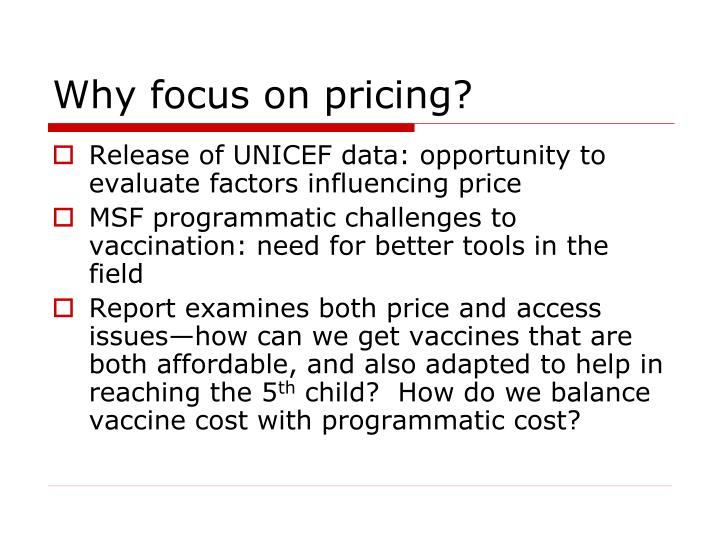 Why focus on pricing?