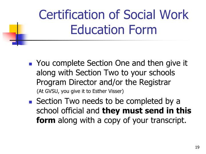 Certification of Social Work   Education Form