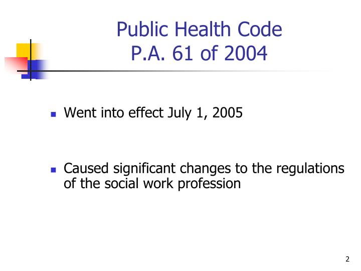 Public health code p a 61 of 2004