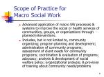 scope of practice for macro social work