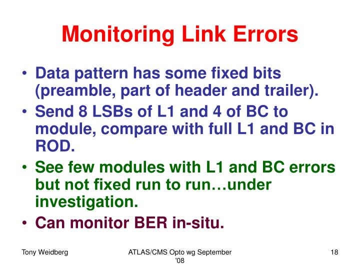 Monitoring Link Errors
