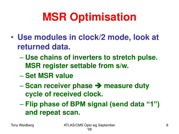 MSR Optimisation