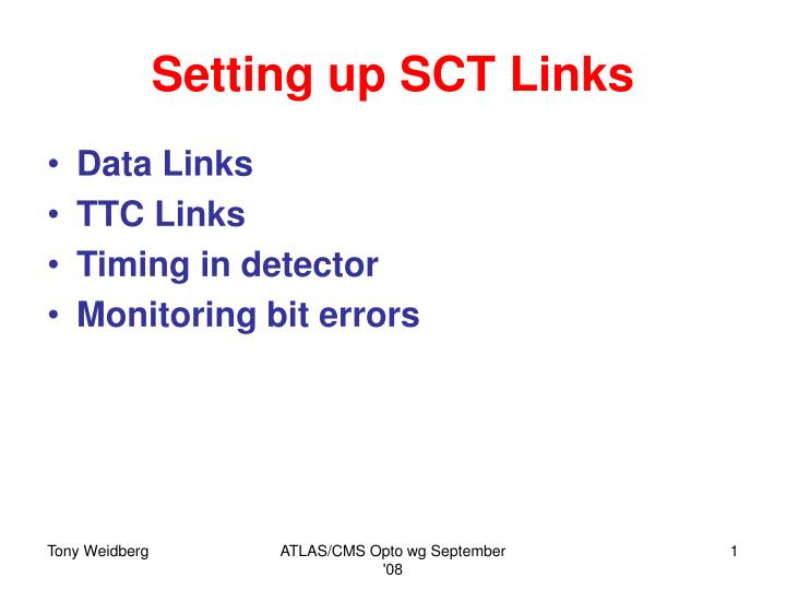 Setting up sct links