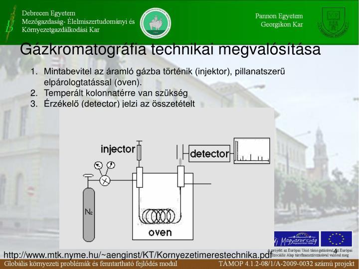 Gázkromatográfia technikai megvalósítása