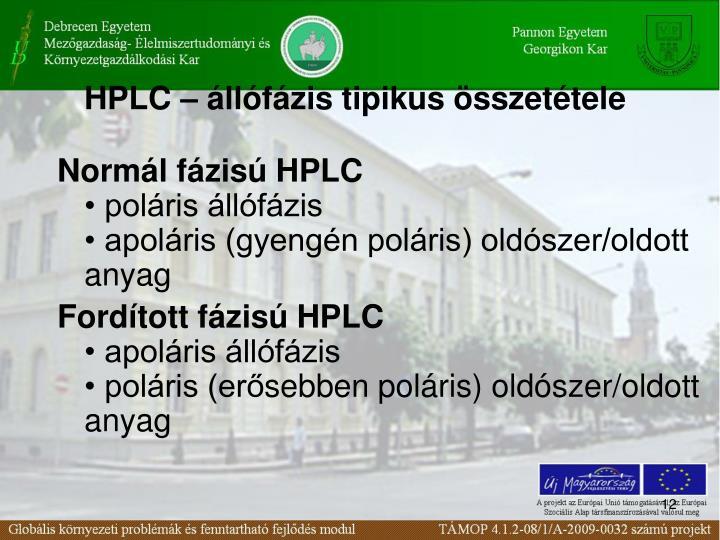 HPLC – állófázis tipikus összetétel