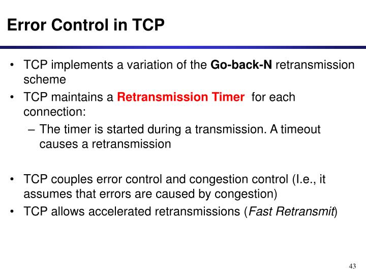 Error Control in TCP