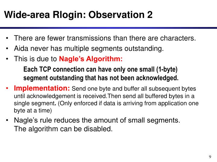 Wide-area Rlogin: Observation 2