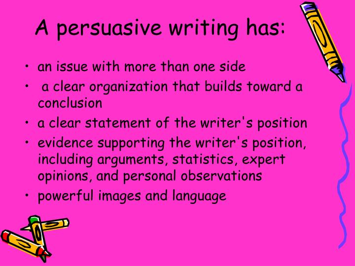 A persuasive writing has