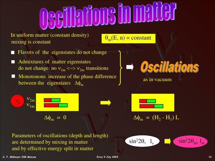Oscillations in matter