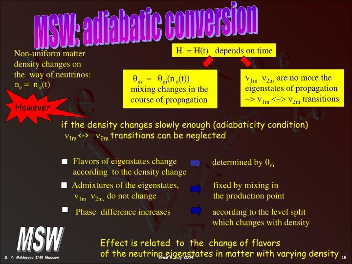 MSW: adiabatic conversion