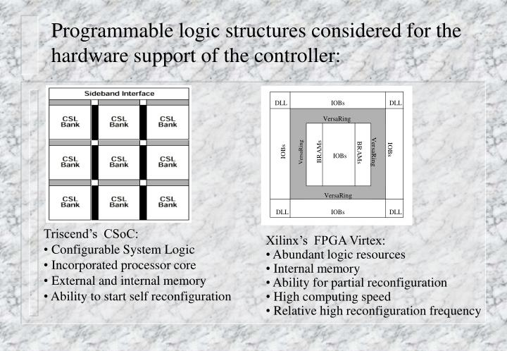Programmable logic structures considered for the hardware support of the controller: