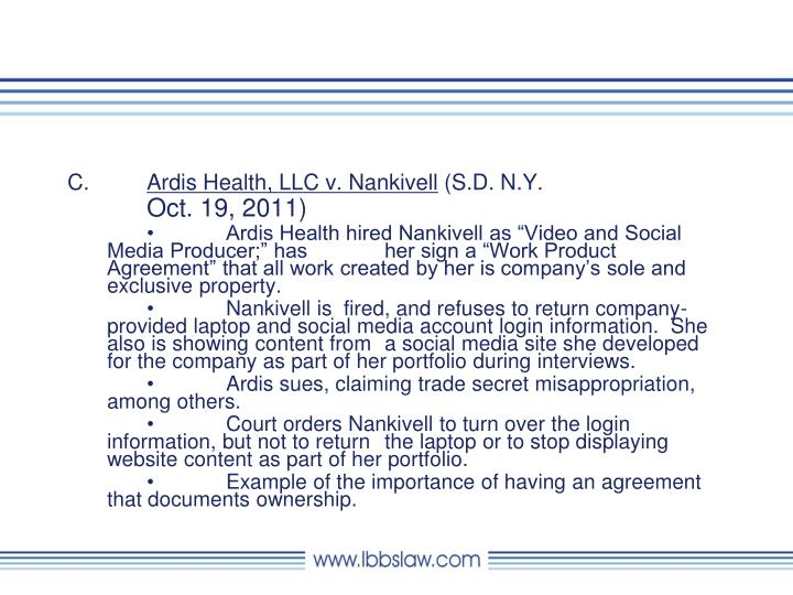 Ardis Health, LLC v. Nankivell