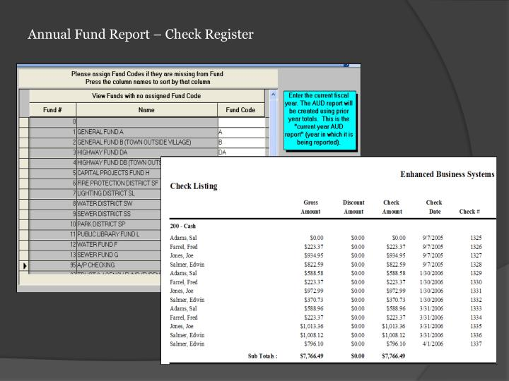 Annual Fund Report – Check Register