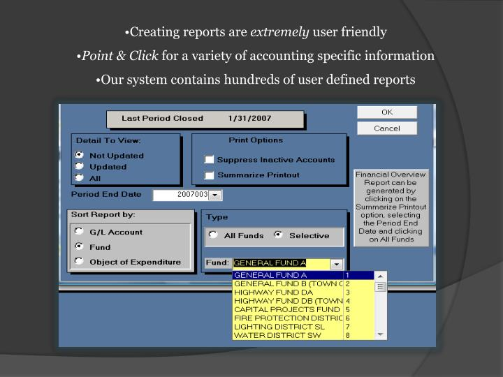 Creating reports are