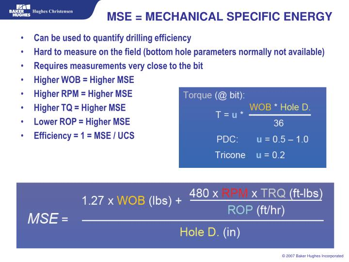 MSE = MECHANICAL SPECIFIC ENERGY