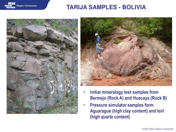TARIJA SAMPLES - BOLIVIA