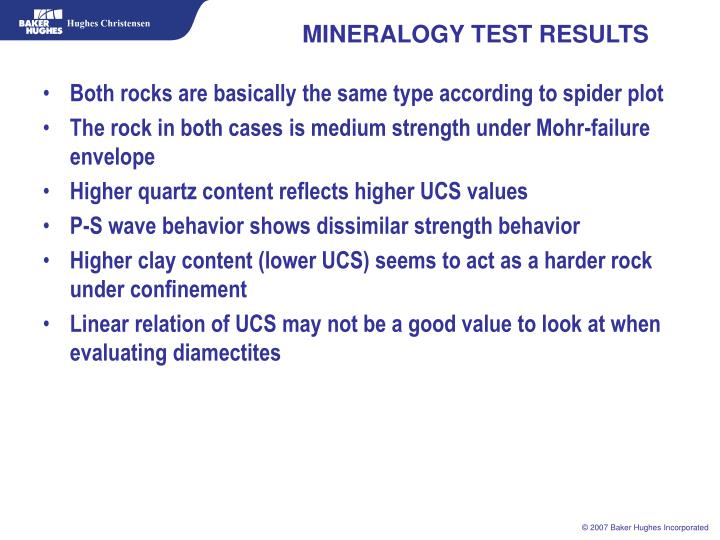 MINERALOGY TEST RESULTS