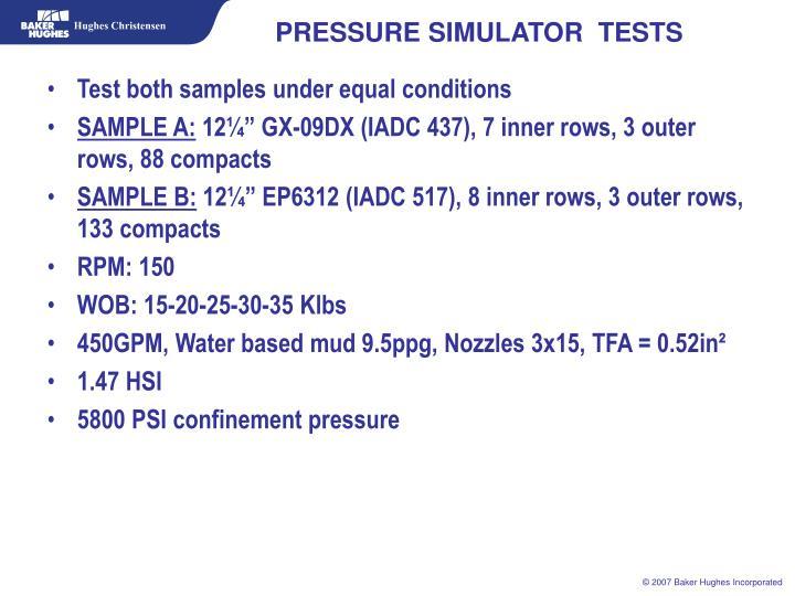 PRESSURE SIMULATOR  TESTS