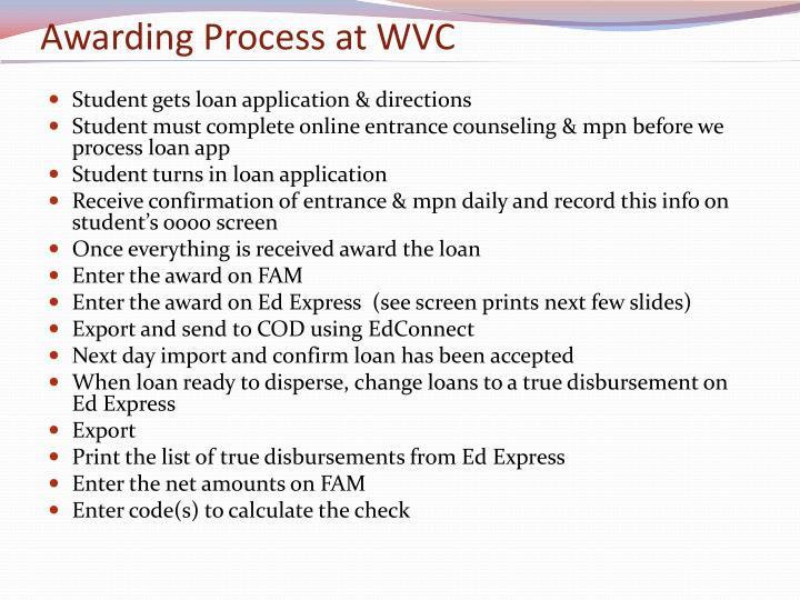 Awarding Process at WVC