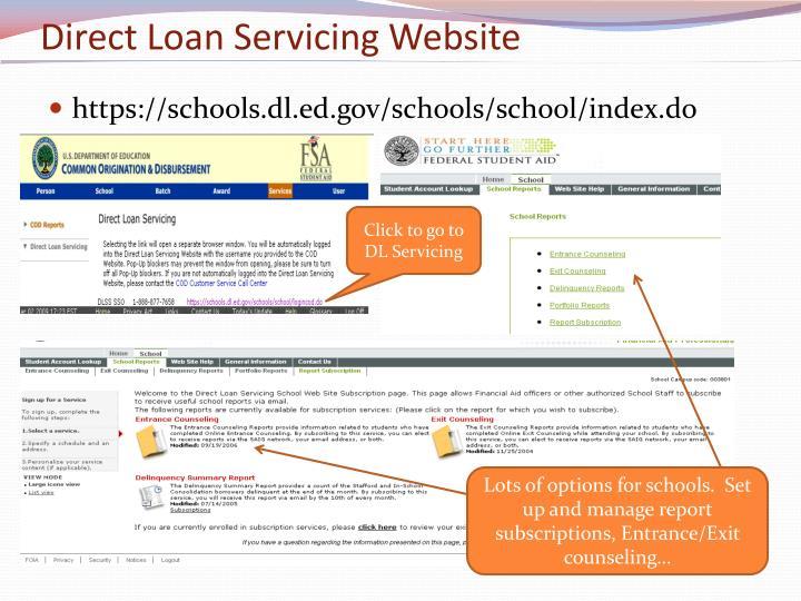 Direct Loan Servicing Website