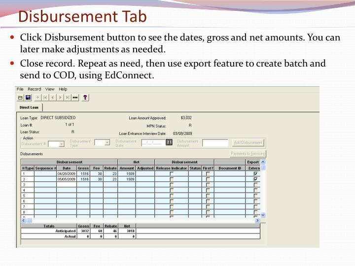 Disbursement Tab
