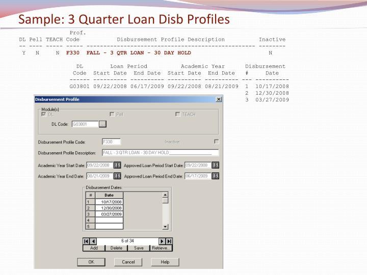 Sample: 3 Quarter Loan Disb Profiles