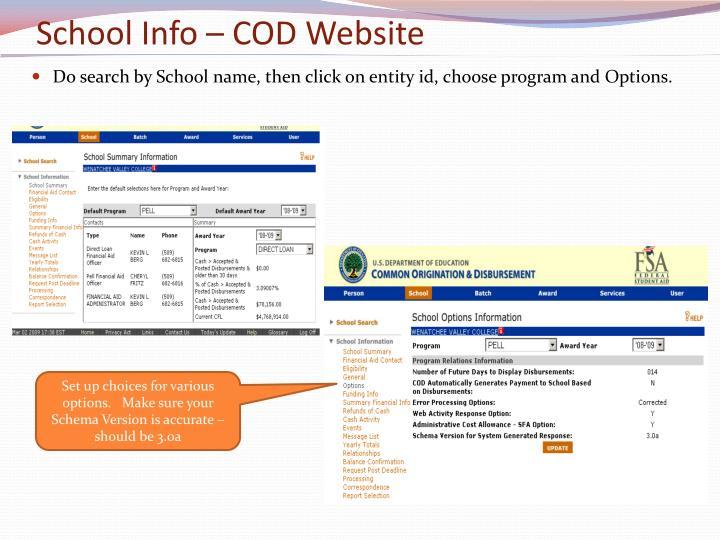 School Info – COD Website