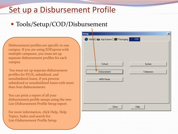 Set up a Disbursement Profile