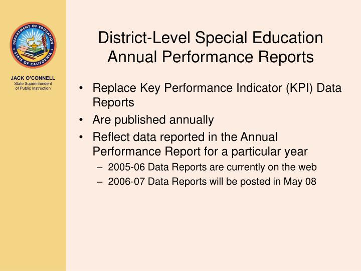 District-Level Special Education Annual Performance Reports