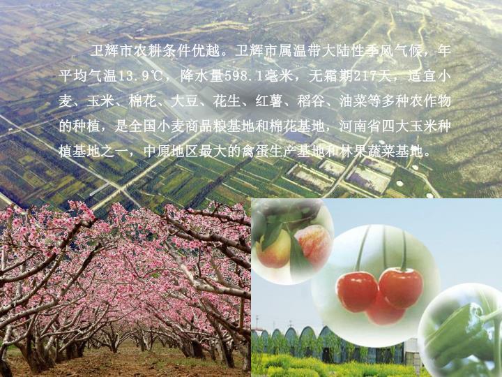 卫辉市农耕条件优越。卫辉市属温带大陆性季风气候,年