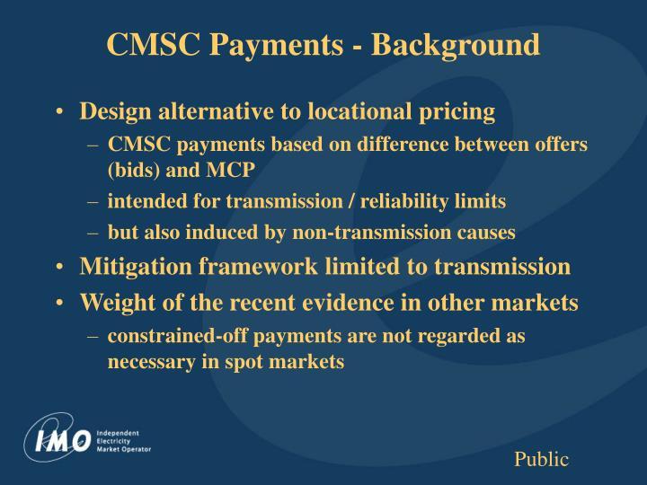 CMSC Payments - Background