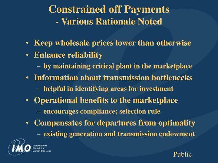 Constrained off Payments