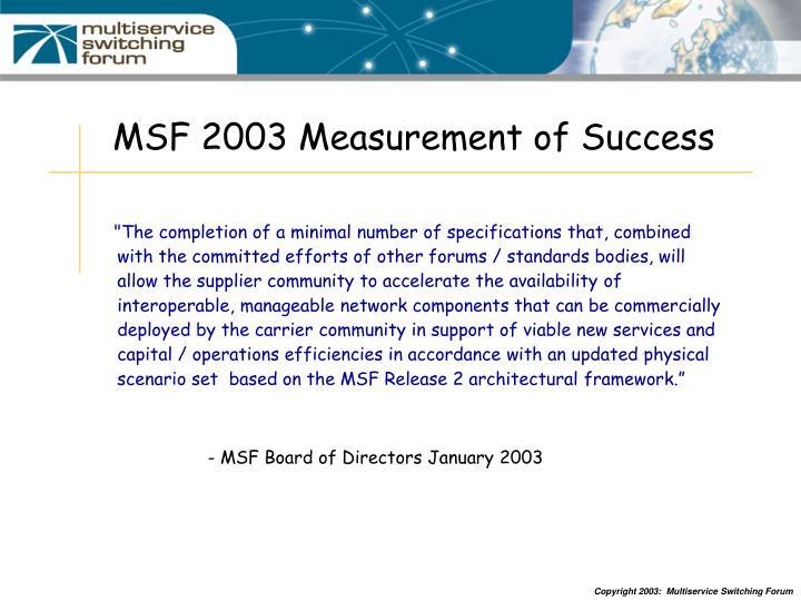 MSF 2003 Measurement of Success