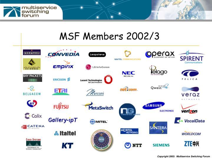 MSF Members 2002/3