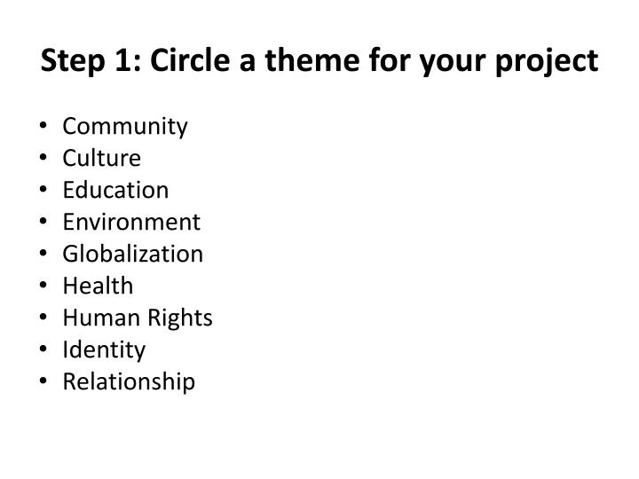 Step 1 circle a theme for your project