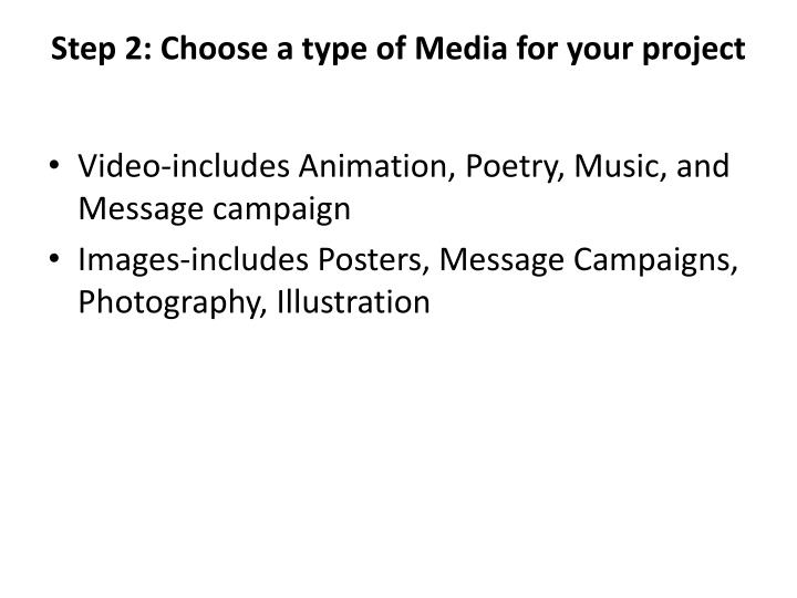 Step 2 choose a type of media for your project